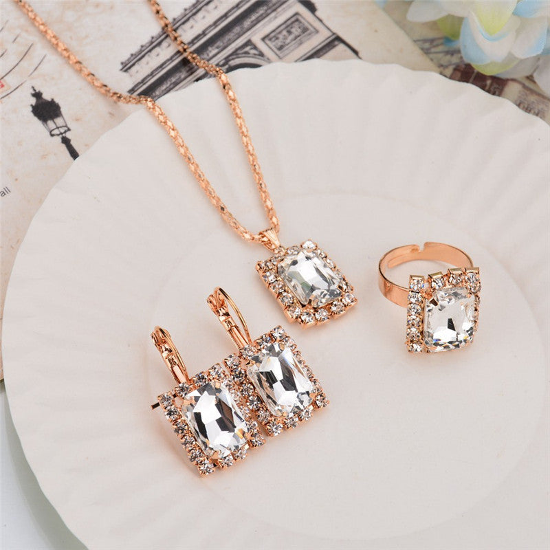 Deals Blast: 3PCS/Set Women Jewelry Sets Gold Plated Wedding Bridal Jewellery Set Geometric Crystal Necklace Ring Earrings For Girls Gift - Deals Blast