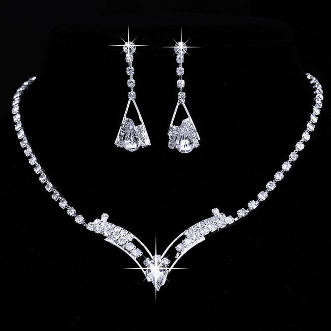 Deals Blast: Vintage jewelry rhodium plated Fashion full rhinestone jewelry sets stud earrings necklaces Crystal Wedding Jewelry Sets Women Deals Blast