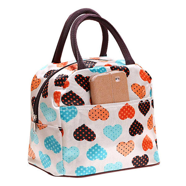 2016 Insulated Cold Canvas Flower Picnic Totes Carry Case Casual Thermal Portable Lunch Bag Zipper Organizer Lunch Box lancheira - Deals Blast