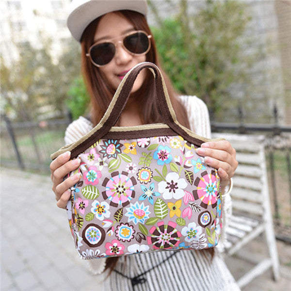2016 Insulated Cold Canvas Flower Picnic Totes Carry Case Casual Thermal Portable Lunch Bag Zipper Organizer Lunch Box lancheira Deals Blast