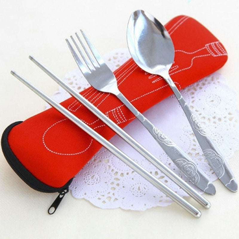 3Pcs/set Cute Fork Spoon Chopsticks Stainless Steel Tableware Cutlery Portable Camping Bag Picnic Lunch Box for Kids with Bags Deals Blast