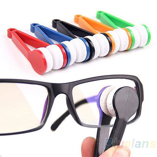 Mini Portable Glasses Eyeglass Sunglasses Spectacles Microfiber Cleaner Brushes Deals Blast