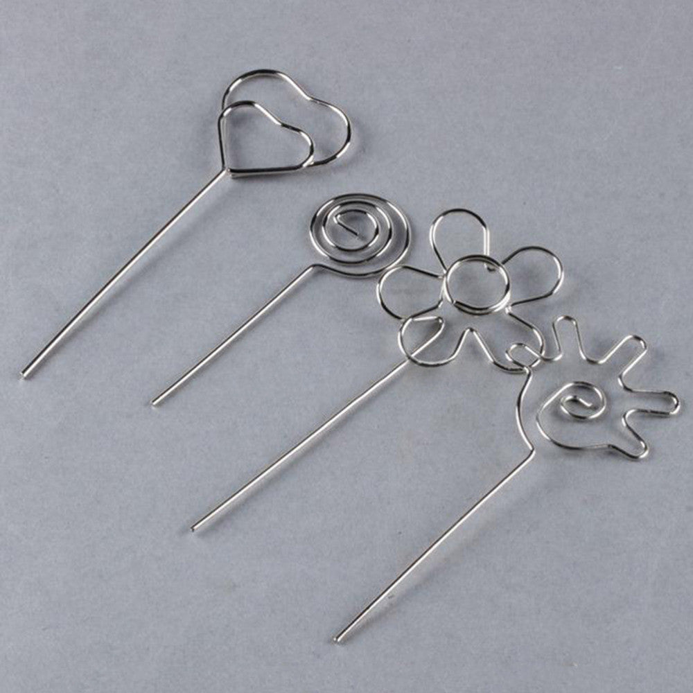 Deals Blast: Stainless Steel Heart Shape Craft New Wire Clip Card Note Photo Memo Holder Clips Metal Clamp Cake Accessories Decor Deals Blast