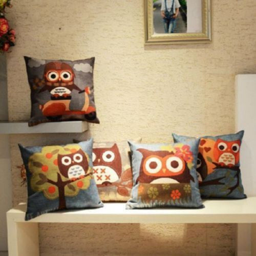 2017 New Square Cotton Linen Cute Owl Digital Printed Pillow Case - Deals Blast