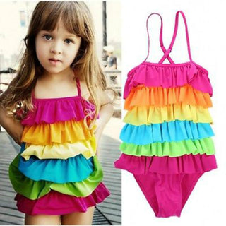 2016 Kids Girls Rainbow Bikini Girls Summer Beach Swimwear Layered Swimming Bathing Suit Children Girls Swimsuit - Deals Blast