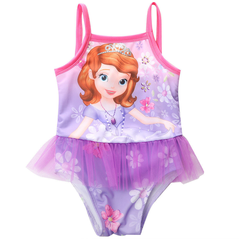 2-7Y New model cute baby girl swimwear one piece with princess pattern girls swimsuit kid/children swimming Suit - Deals Blast