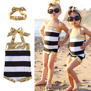 2016 One Piece Baby Girls Swimwear Tankini Kids Striped Swimsuit Summer Children Bathing Suit  Headband 2-7Y - Deals Blast