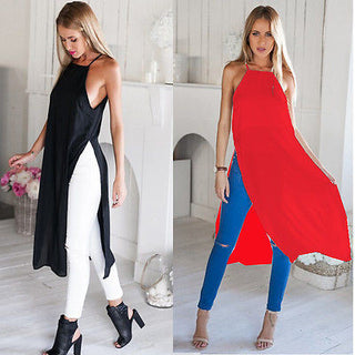 Deals Blast: Summer Women's Two Side High Split Chiffon Blouse shirt Semi Sheer Tops Deals Blast