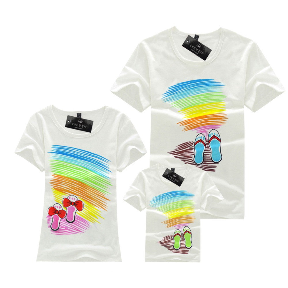 1 Piece 90% Cotton Short Sleeve Printed Beach style Family Set T Shirts Matching Family Clothing Men Women Kids Large T-Shirts - Deals Blast