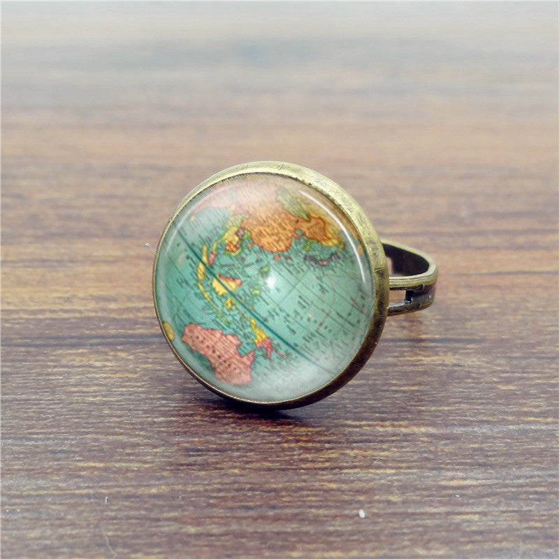 Vintage Globe Ring Planet Earth World Map Art Map Glass Dome Rings for Women Jewelry Bague Femme Deals Blast