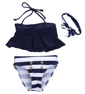 2016 Newest 3Pcs Kids Baby Girls Bikini Suit Outfits Navy Striped Headband Swimsuit Swimwear Bathing Swimming Clothes Deals Blast