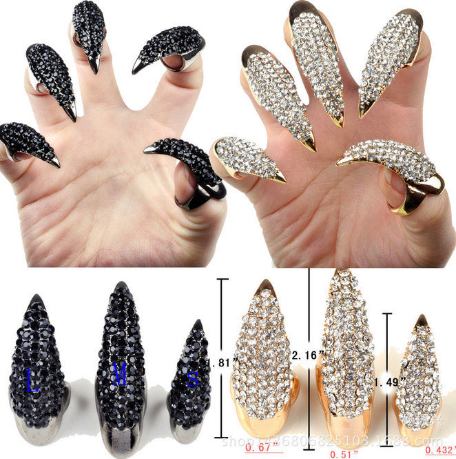 New Fashion Punk Finger Rings For Women Gold Plated Cz Diamond Crystal Eagle Claw Nail Art Decoration Party Jewelry Rings Deals Blast