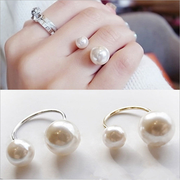 1pcs Hot fashion street shoot accessories imitation pearl size adjustable ring opening women jewelry gifts - Deals Blast