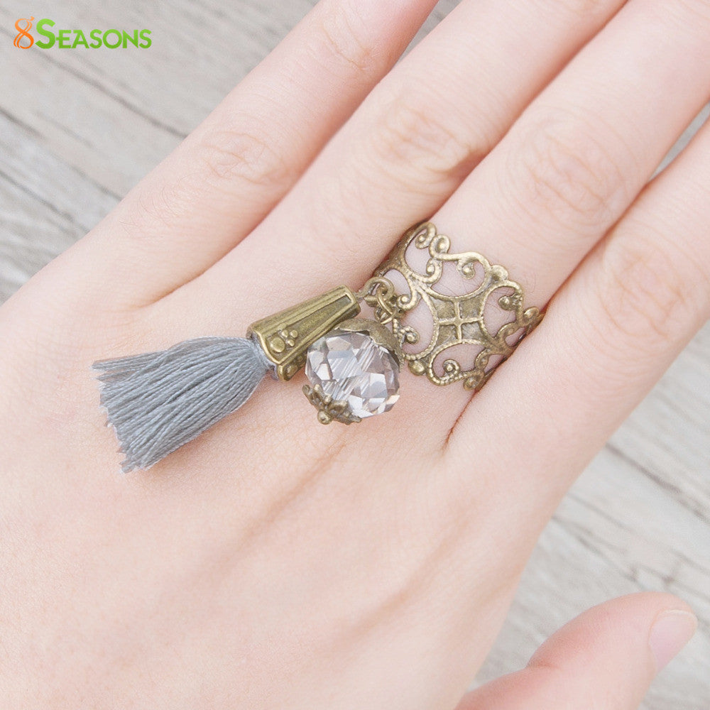 "Deals Blast: 8SEASONS New Fashion Adjustable Rings Antique Bronze Wtih Clear Faceted Bead Cotton Gray Tassel 16.7mm( 5/8"") US 6.25, 1 Piece Deals Blast"