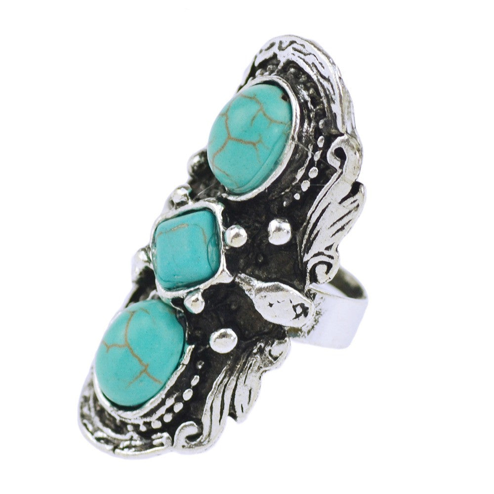 Cheap Fashion Jewelry Tibetan Silver Plated Unique Shaped Inlay Turquoise Bead Vintage Ring for Women Party Deals Blast