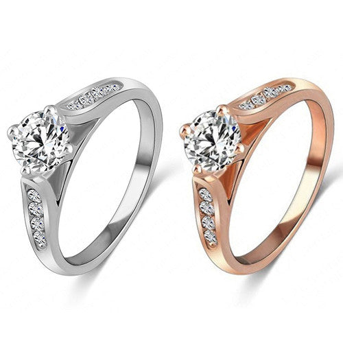 Deals Blast: Brilliant quality Women Zircon Gem Delicate Rose Gold Alloy Ring for Bridal Wedding Engagement Deals Blast