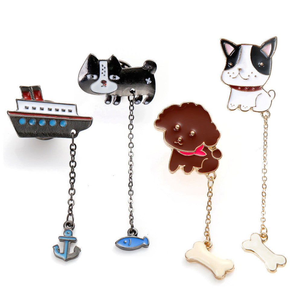 8SEASONS Brooches Boat Anchor Cat Fish Dog Animal Teddy Bulldog Bone Gunmetal Multicolor Enamel Fashion,1 Piece Deals Blast