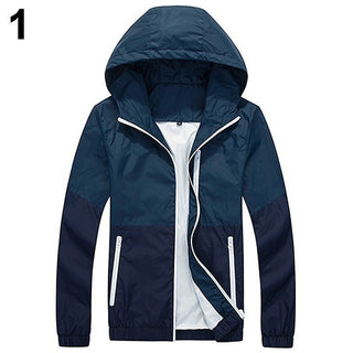 Deals Blast: Fashion Men's Zip Up Hooded Jacket Summer Casual Sportwear Windbreaker - Deals Blast