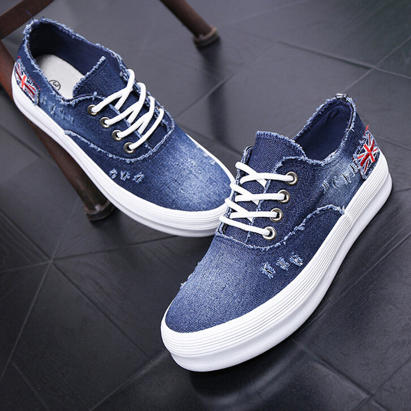 2016 Adult casual shoes women denim canvas rubber breathable lace-up platforms summer solid shoes for woman - Deals Blast
