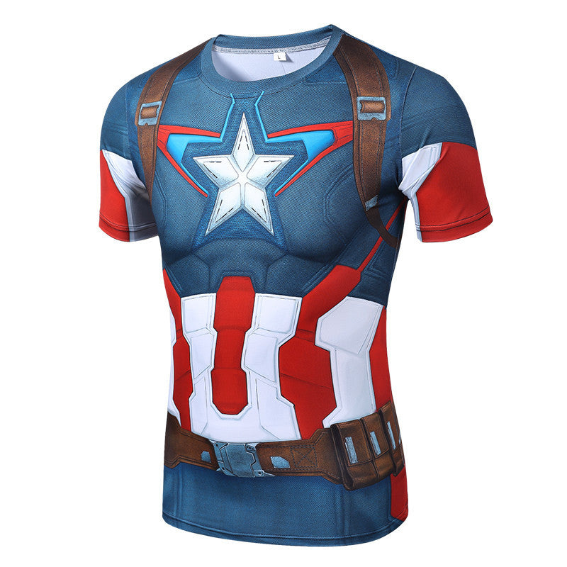 2016 3D TShirt High quality fast drying polyester new fashion mens short sleeved shirt superman captain America t shirt men Slim - Deals Blast