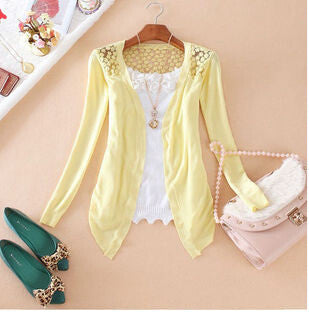 Deals Blast: Women Candy Color Slim Thin Lace Hollow Out jacket Women Knitted Cardigan Sweater Tops Irregular Hem Long Sleeve Outwear Coat Deals Blast