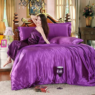 hot sale classic imitate silk feel satin plain solid coffee pink purple bedding set duvet cover set bedclothes bed sheet set Deals Blast