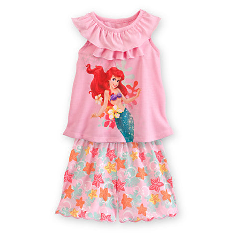 2016 Cute Girls Clothing Sets Children Clothes Mermaid Ariel Girls Vest Tops + Floral Shorts Summer Kids Girls Suits Set Outfits Deals Blast
