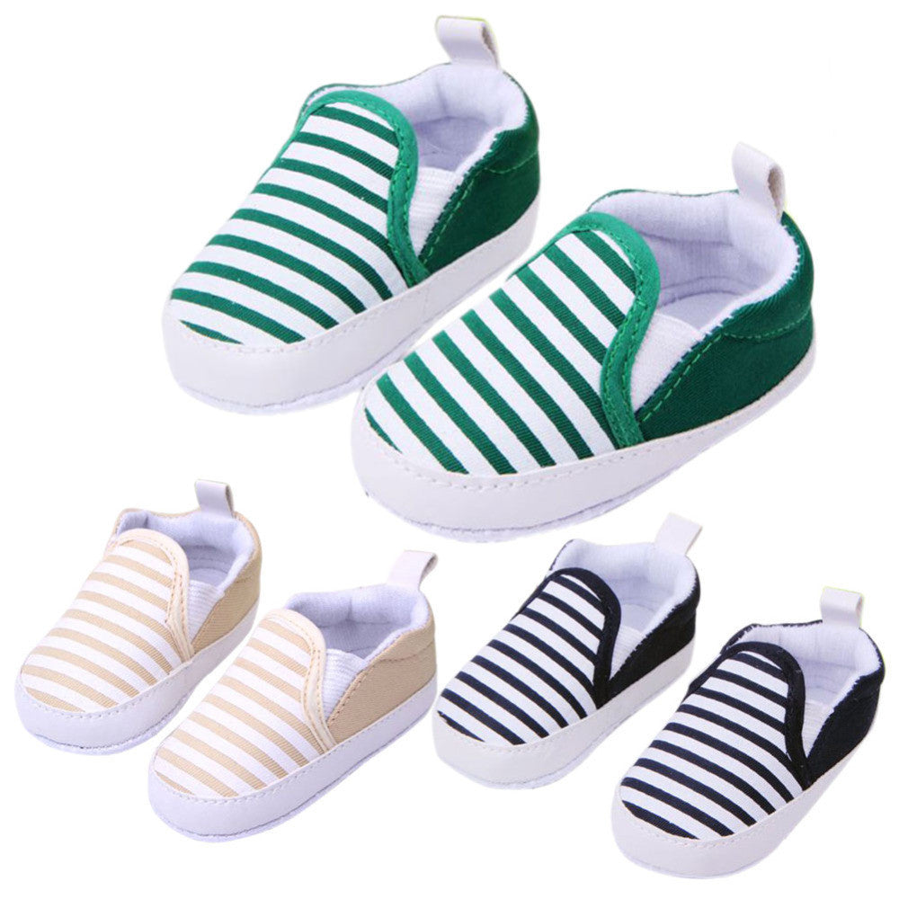 Deals Blast: Hot Sale 1 Pair 3 Colors 3-13M Kids Baby Soft Bottom Walking Shoes Boy Girl Striped Anti-Slip Sneakers Deals Blast