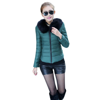 Deals Blast: Winter Coat Women Fashion Lady Down Cotton Slim Hooded Fur Collar Coat Jacket Parka Deals Blast