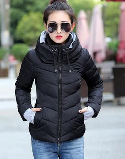 Deals Blast: Women Winter Fashion Jacket Hooded Short Wadded Cotton Warm Jacket Ladies Plus Size Parka Coat Female Femme Outerwear Clothes Deals Blast
