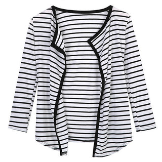Deals Blast: 2016 New Arrival Women Casual Coats Stripe Spring Autumn Cotton Jackets Fashion Open Stitch Long Sleeve Cardigan Tops Deals Blast