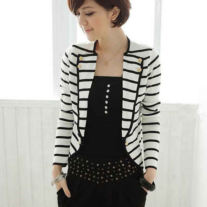 Deals Blast: Fashion European & American Style Coat Retro Print Black and White Stripe Jacket Women Women Slim Outwear Deals Blast