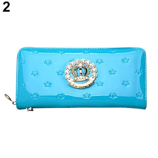 Deals Blast: 2016 Fashion Women Crown Rhinestone Wallet Faux Leather Purse Long Handbag Clutch Bag - Deals Blast