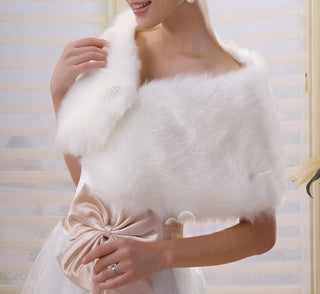 Deals Blast: Elegant Ivory Plush Faux Fur  Shrug Bolero Shawl Cape Bridal Wedding Jacket - Deals Blast