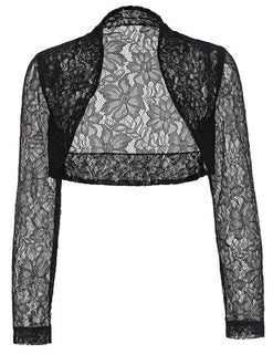 Deals Blast: Belle Poque Jacket Womens Ladies Long Sleeve Cropped Shrug Black White Coat New Fashion Lace Bolero Plus Size Deals Blast