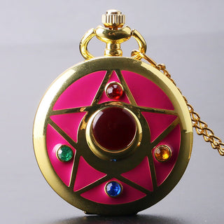 Deals Blast: Golden Sailor Moon Theme Necklace Pendant Quartz Pocket Watch With Necklace Chain Girl Gift Deals Blast