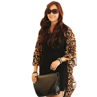 Deals Blast: Free shipping New Women Coat Jacket Leopard Print Batwing Sleeve Cape Tunic Chiffon Cardigan Lady Tops Shawl Jecksion Deals Blast