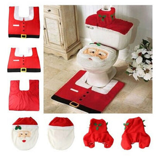 Deals Blast: 2016 Home Christmas Santa Toilet Seat Cover And Rug Bathroom Set Contour Rug Christmas Decorations For Natal Navidad Decoracion - Deals Blast
