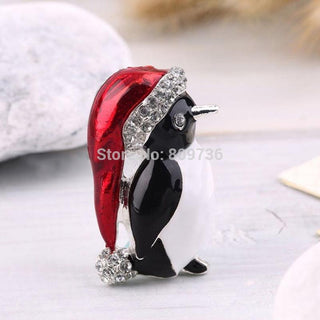 Exquisite Enamel Rhinestone Cute Penguin Brooch Pin Jewelry Women Girls Pretty New Year Christmas Gift Wholesale Cheap - Deals Blast