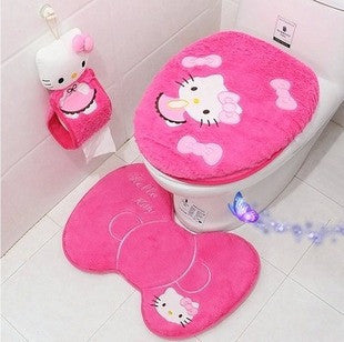 Deals Blast: Hello kitty bathroom set toilet set cover wc seat cover bath mat holder closestool lid cover 4pcs/set Toilet seat cushion Deals Blast