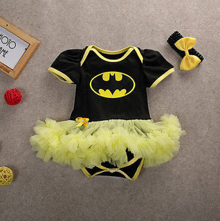 Newborn Baby Girls Clothing Batman Jumpsuit Bodysuit Lace Tutu Mesh Bow Headband Outfits Toddler Clothes Deals Blast