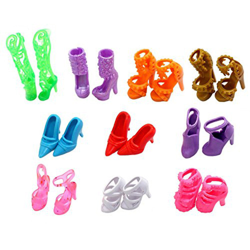 10 Pairs of Doll Shoes for Barbie Dolls Colorful Assorted Fashion Doll Shoes Heels Sandals Accessories Outfit Dress Xmas Gift - Deals Blast