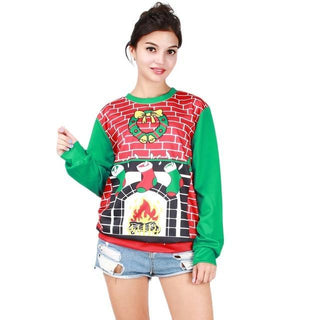 Women Christmas Digital Printing Long Sleeve Sweatshirts: Deals Blast