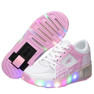 Fashion New Child Junior Girls/Boys LED Light with wheels Children Roller Skate Shoes Kids Sneakers With Single Wheels: Deals Blast