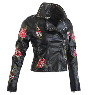 Embroidery Women Jacket Spring Autumn Long Sleeve Slim Faux Leather