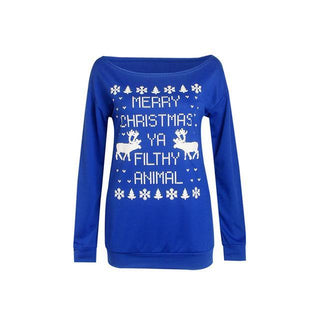 Women Snow Christmas Clothes Sweatshirts Cotton Long Sleeve