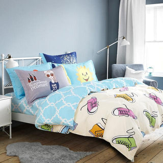 Modern Bedding Set Close Skin Cotton Bed Linen Color Shoes Egg Pattern Printed Duvet Cover Set for Family Twin Queen Sizes - Deals Blast
