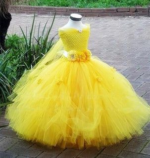 Belle Princess Tutu Dress Baby Kids Fancy Party Christmas Halloween Costumes Beauty Beast Cosplay Dress Flowers Girls Ball Gown: Deals Blast