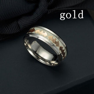 Fashion Stainless Steel Batman Pattern Ring New Design  Luminous Band Ring Glow In The Dark for Couples