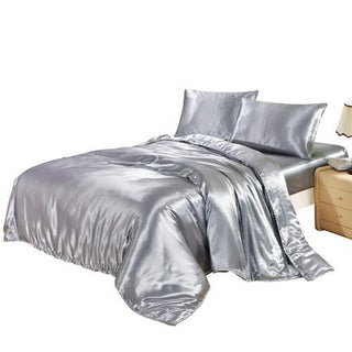 DUVET COVER SET SATIN SILK BEDDING SET WITH DUVET COVER PILLOWCASES pink/black/white/blue/purple/gray/golden: Deals Blast